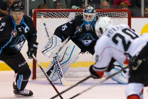 Magnus Hellberg starts in net for the season opener. (Photo Credit: Clint Trahan)
