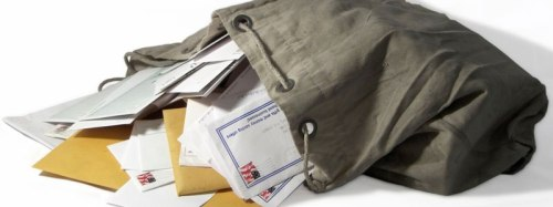 Cliche photo of mail spilling out of a bag for a mail bag column. (Photo Credit: Google Image Search)
