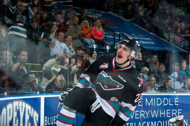 KELOWNA, CANADA - OCTOBER 23: Justin Kirkland #23 of Kelowna Rockets celebrates a goal against the Prince George Cougars on October 23, 2015 at Prospera Place in Kelowna, British Columbia, Canada.  (Photo by Marissa Baecker/Shoot the Breeze)